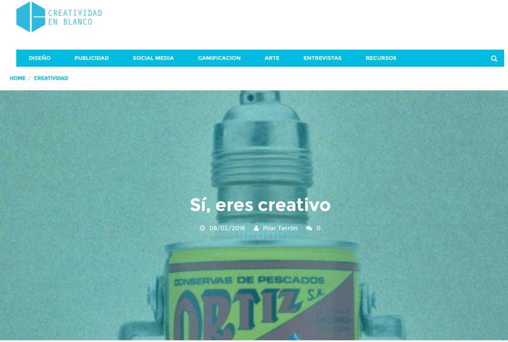 Reseña del libro Sí, eres creativo en Creatividad en Blanco