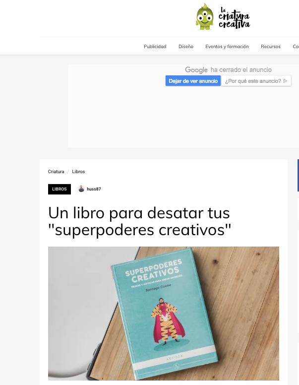 Reseña en La criatura Creativo del libro Superpoderes creativos