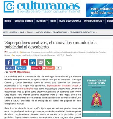 Reseña del libro de publicidad Superpoderes creativos en Culturamas