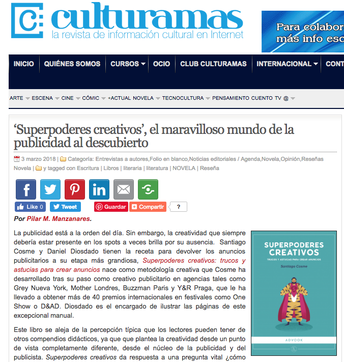 Reseña del libro Superpoderes creativos en Culturamas